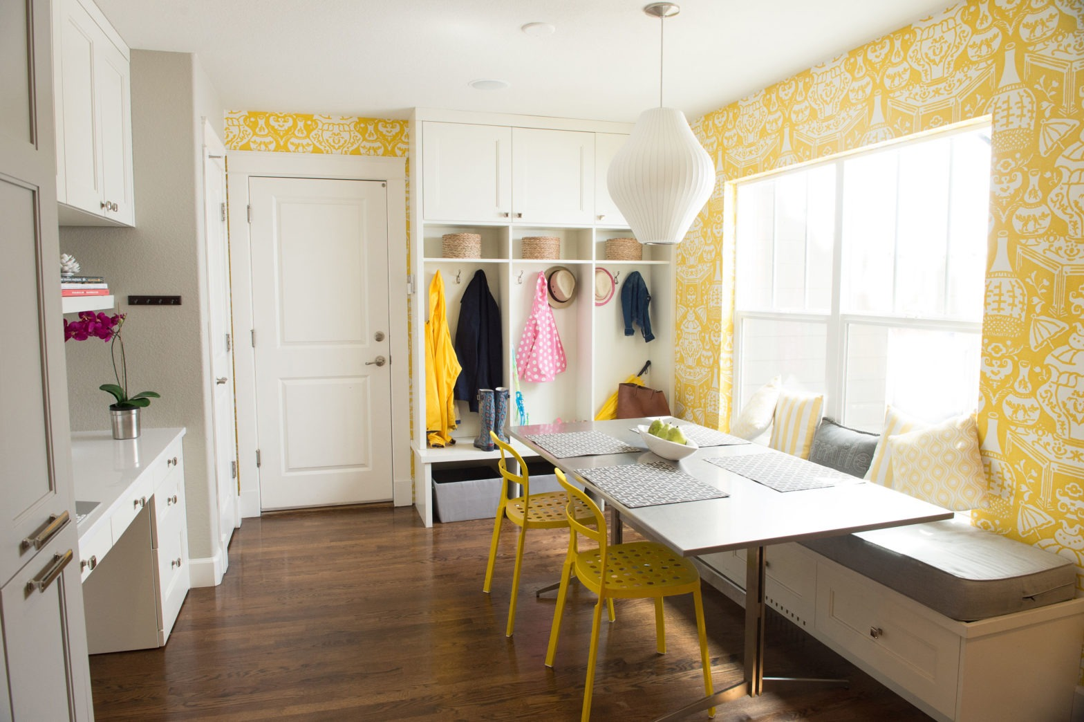Bright Yellow wallpaper kitchen nook