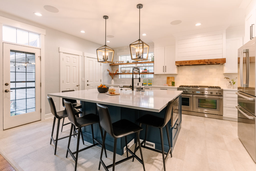 wide shot of a kitchen with a center island