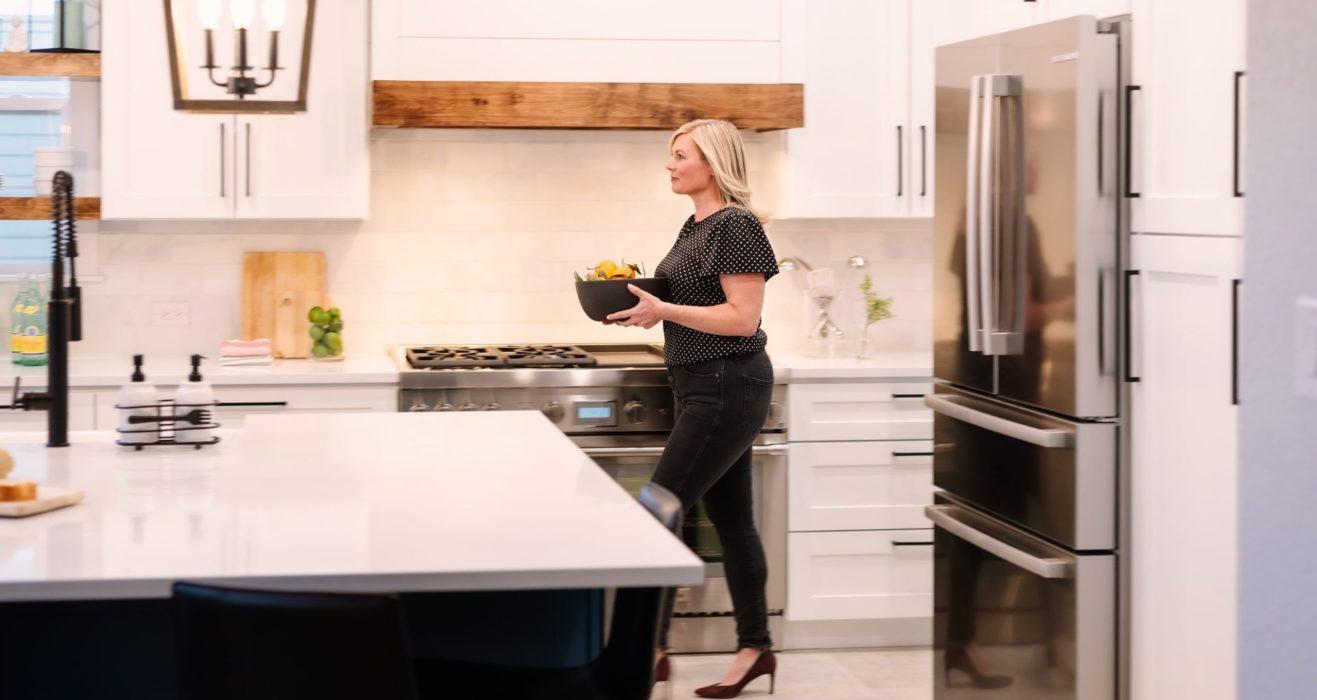 Cherstin Toney working on a kitchen redesign